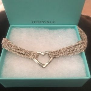 Tiffany & Co Silver Mesh Heart Choker Necklace